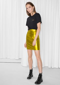 & Other Stories image 1 of Leather Skirt in Yellow