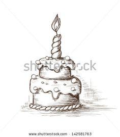 Hand drawn celebration cake - stock vector