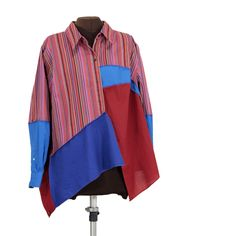 ZUPERMANN Smock-jacket with wild stripes, bold blues and tomato red - Secret Lentil Clothing