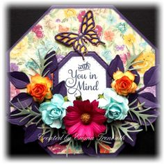 Flower power get well card, bobunny ambrosia papers, paper flowers, justrite sentiment stamp