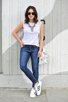 2016 GAP Muscle Tee | Joe's Jeans | BaubleBar Bib Necklace c/o | Rebecca Minkoff Bag c/o | Adidas Superstars