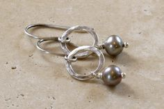 Hammered Sterling Silver Circle & Single Gray Pearl Earrings