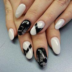 off-white and black geometric nail art design