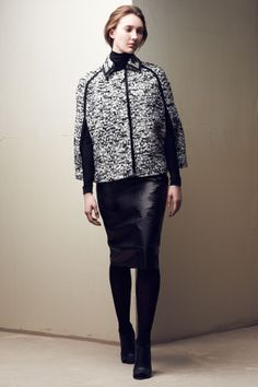 Lida Baday Laminated Wool Slim Skirt