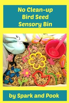 This Bird Seed Sensory Bin is quick and easy to set up and requires no clean up and provides hours of fun for kids - Spark and Pook