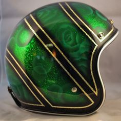 Green Candy & Lace One-Of-A-Kind Biltwell custom painted helmet. $299 Available here: http://sqi.sh/g5w