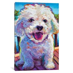 'Bichon Frise' Painting Print on Wrapped Canvas August Grove Size: 66 cm H x cm W x cm D Canvas Artwork, Art Prints, Art And Technology, Bichon Frise Art, Canvas Prints, Painting, Painting Prints, Art, Canvas Giclee