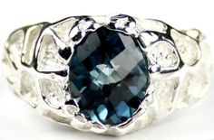 SR292, London Blue Topaz, 925 Sterling Silver Men's Ring * Stone Type - London Blue Topaz * Approximate Stone Size - 10x8mm  * Approximate Stone Weight - 3.3 cts  * Jewelry Metal - Solid 925 Sterling Silver * Approximate Metal Weight - 6 grams  * Ring Size - Size selectable during checkout * Our Warranty - A full year on workmanship  * Our Guarantee - Totally unconditional 30 day guarantee