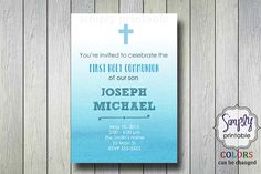 Blue Baptism/Communion Digital Invitation by simplyprintable