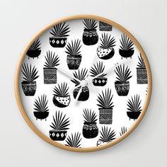 houseplant linocut aloe vera art botanical black and white lino printmaking art minimal modern Wall Clock