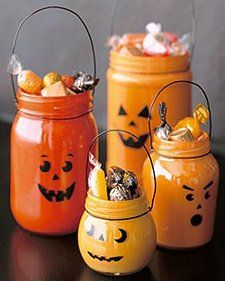 Create jack-o-lantern decorations and Halloween party favors using thrifted glass jars. DIY how-to via @Martha Stewart Living.