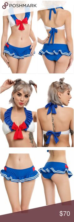 NEW~ Sailor Moon Inspired L Cosplay Swim Bikini Sailor Girl Cosplay Swim Bikini  Condition: New with tags Size: Large Color: White, Blue, & Red Product details:  This Swim Top was inspired by the outfit worn by Sailor Moon in the animated series. Perfect for everyday Swim wear, cosplay, or costume.   Halter style top Ties at neck & back Blue ruffled trim Red bow at center chest Lightly padded Removable padding Slip on bottom  Fully lined Shell: 80% polyamide; 20% elastane Lining: 100%…