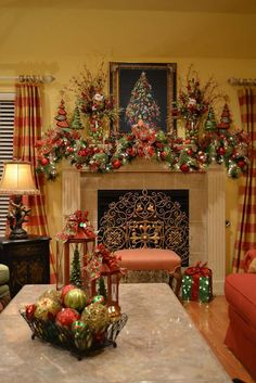 Ideas to adapt for non-xmas as well. A Whole Bunch Of Christmas Mantels 2013 - Christmas Decorating - Christmas Fireplace, Christmas Mantels, Noel Christmas, Country Christmas, All Things Christmas, Christmas Balls, Christmas Candy, Green Christmas, Christmas Colors