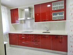 Muebles de cocina color rojo y blanco - Red and white furniture kitchen