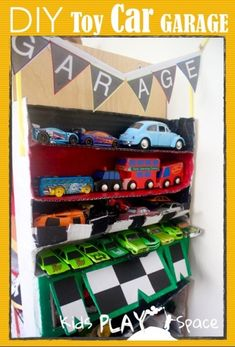 DIY Toy Car Garage - using recycled materials, for small space living. Kids Play Space
