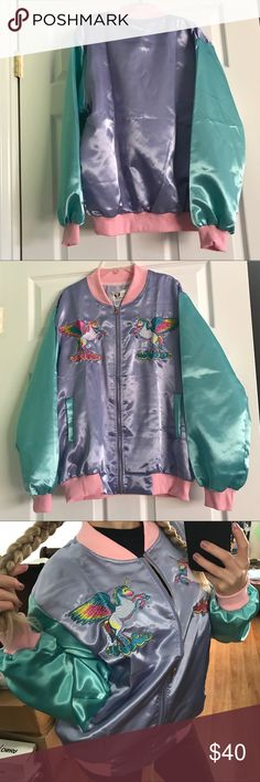 """Retro Unicorn Bomber Jacket Brand new never worn. Tag on original packaging. Pastel Unicorn Bomber Jacket One size - fits Small-Large. The jacket pictured is my own, you will get one that is still in its packaging. For reference, I am 5'2"""" and usually wear xs. Not Unif.  Tags: AA, holographic, American apparel, wildfox, iridescent, transparent, clear, rave wear, festival, rave, top shop, dollskill, UNIF, nastygal, grunge, rainbow, pvc, little black diamond, kawaii, harajuku, lolita…"""