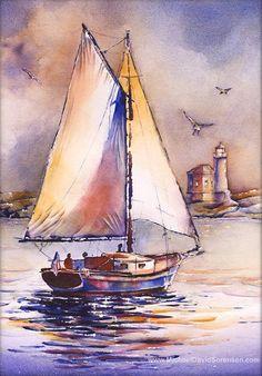 Sailing Past Bandon Light – Sailboat Watercolor Painting PRINT. Bandon, Oregon Lighthouse – Vehicles is art Watercolor Landscape, Watercolor Paintings, Watercolours, Painting Prints, Art Prints, Sailboat Painting, Lighthouse Art, Boat Art, Nautical Art