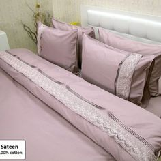 Ash-Pink, Luxury Sateen Bedding Duvet Cover Set King Queen Single Sizes 6 Pieces (Duvet cover, Bed sheet, Pillow cases)