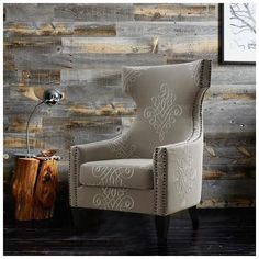 Tov Furniture, TOV-A36, Chairs, Tov Furniture Tov A36 Gramercy Embroidered Linen Wing Chair