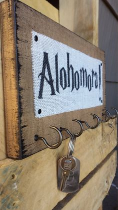 Harry Potter Burlap and Wood Key Hooks Alohomora by HashtagAdorbs