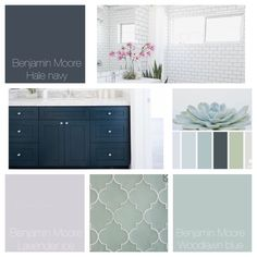 Benjamin Moore, hale navy, lavender ice, woodland blue, bathroom cabinet floor and accent inspiration color palette. Navy, muted turquoise mint and lavender.