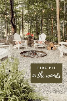 Fire Pit In The Woods | Building A Home In The Woods Gravel Landscaping, Gravel Patio, Pea Gravel, Flagstone, Fire Pit Landscaping Ideas, Fire Pit Backyard, Backyard Patio, Wooded Backyard Landscape, Fire Pit Gravel Area