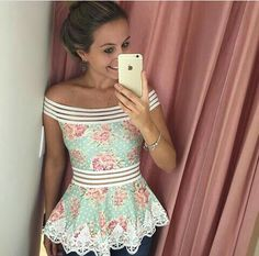 Lindo Girly Outfits, Classy Outfits, Cool Outfits, Casual Outfits, Fashion Wear, Skirt Fashion, Fashion Dresses, Blouse Dress, Diy Dress