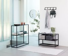 Modern style shoe shelf with durable black steel frame that offers stability. Minimalist construction offers both design and versatility. Steel Furniture, Living Room Furniture, Coffee And End Tables, Furniture Inspiration, Little Houses, Minimalist Home, Decoration, Console Table, Home Decor
