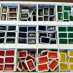 This is how I organize my watercolor refills in my elementary art room. That is an empty oil pastel refill box and now it holds the watercolor refills. So easy to find and use!