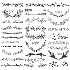Calligraphy Discover Set of Hand Drawn Black Doodle Design Elements. Set of Hand Drawn Black Doodle Design Elements. Diy Planner, Draw Dividers, Diy Tattoo, Wreath Tattoo, Doodle Designs, Lettering Tutorial, Bullet Journal Inspiration, Clipart, Doodle Art