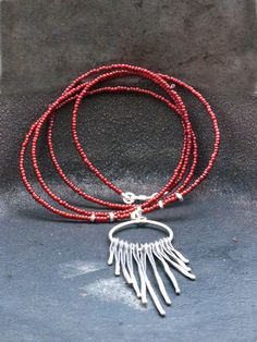 Fringe Long Necklace, Boho Red Long Pendant Necklace, Sterling Silver Spike Necklace, Fashion Tassel Necklace, Unique Necklace Gift for Her Red Necklace, Fringe Necklace, Necklace Lengths, Beaded Necklace, Long Silver Necklace, Long Pendant Necklace, Handmade Silver Jewellery, Silver Jewelry
