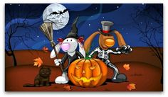 "Halloween is considered ""spooky holidays"", when children dressed in bizarre costumes. With the Halloween-themed wallpaper on, desktop-style'll bizarre Halloween day. Disney Halloween, Halloween Cartoons, Retro Halloween, Feliz Halloween, Fröhliches Halloween, Halloween Pictures, Holidays Halloween, Halloween Pumpkins, Holiday Pictures"