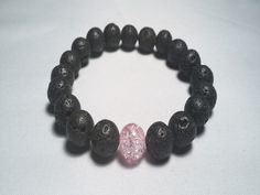 Awareness Black Stone Lava with Pink Center Bead