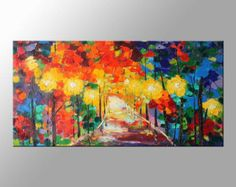 Aceite paisaje pintura abstracta Original moderno de 40 por artmod
