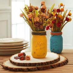 Fall Floral Milk-Painted Mason Jars