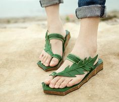 Handmade Women's Shoes, Leather Sandals, Leather Shoes, Flat Shoes, Summer Shoes Sandals, Personal Leaf Sandal Shoes for Girls
