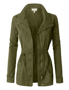 Take over in this military anorak jacket featuring a drawstring waist. It is a must have for a fashion forward outfit! Pair it with our favorite basic t-shirt and legging pants for casual trendy look.