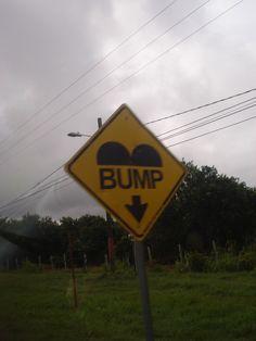 Typical Belizian road sign