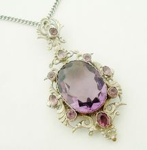 Fabulous French faux amethyst locket backed pendant and chain
