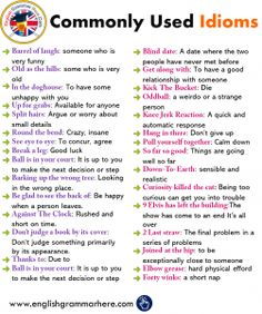 English Idioms, Definitions and Examples - English Grammar Here Teaching English Grammar, English Language Learning, English Writing, English Grammar Rules, Good Grammar, German Language, Japanese Language, Teaching Spanish, Spanish Language