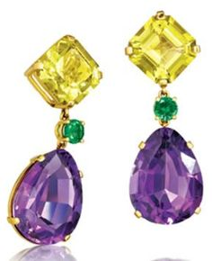 Verdura Confetti Earclips.                  Lemon quartz, tsavorite garnet, amethyst and gold