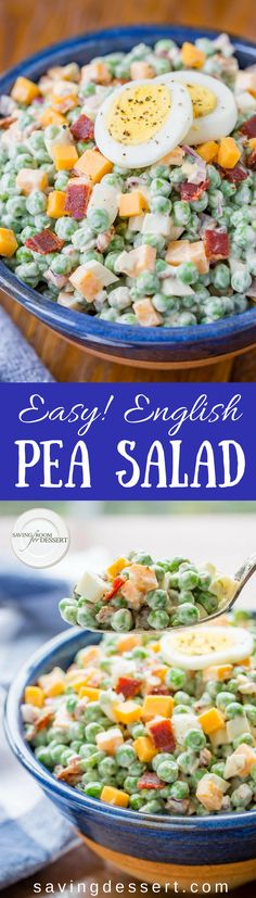 English Pea Salad loaded with hard cooked eggs, a little bacon, minced red onion, and cheddar cheese all blended together with a creamy dressing