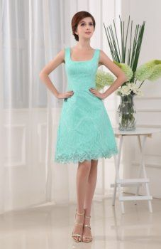 Wedding-Aqua Satin/Lace Square Hourglass Sleeveless A-Line Cocktail Dress/Homecoming Dress -Wedding & Events-Special Occasion Dresses-Cocktail Dresses/Homecoming Dresses Tiffany Blue Bridesmaid Dresses, Lace Homecoming Dresses, Junior Bridesmaid Dresses, Black Bridesmaids, Prom Gowns, A Line Cocktail Dress, Knee Length Cocktail Dress, Cocktail Dresses, Lace Overlay Dress