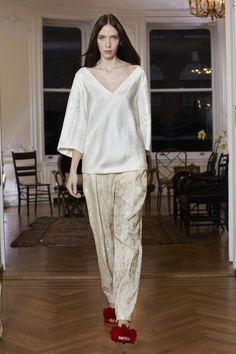 #TheRow #FW13 #NYFW EDWARDIAN EASE, Low creme v-neck with camel over sized tailored pant
