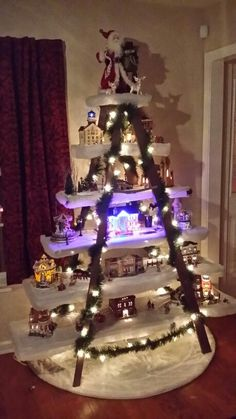 Christmas village ladder Christmas Village Decorations, Christmas Village Display, Christmas Villages, Christmas Traditions, Tropical Christmas, Christmas Holidays, Merry Christmas, Xmas Crafts, Christmas Projects
