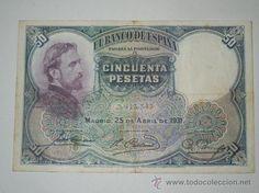billete banco de españa 50 pesetas 1931 sin serie y sin circular precioso