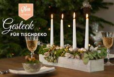Hübsches Adventsgesteck für die Tischdeko selber machen: das Tutorial und Materialangaben findet Ihr hier: www.deko-kitchen.de