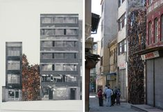 1600 chairs stacked for a public art display by Doris Salcedo