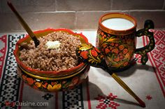 """Kashas_  Kasha is a native Russian dish. Kashas were made from all the possible groats with meat, fish, liver, mushrooms, onion. For base, milk, cream, meat and fish broths were used. It was impossible to imagine Russian cuisine without kasha, there is a proverb: """"You can't feed Russian without a kasha""""."""