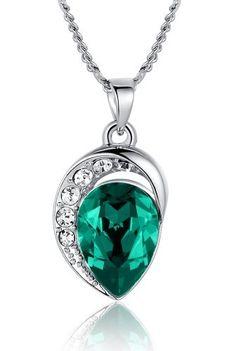 Mondlicht Träne Swarovski-Kristall-Elementen Anhänger Halskette für Damen (Grün) 2102601
